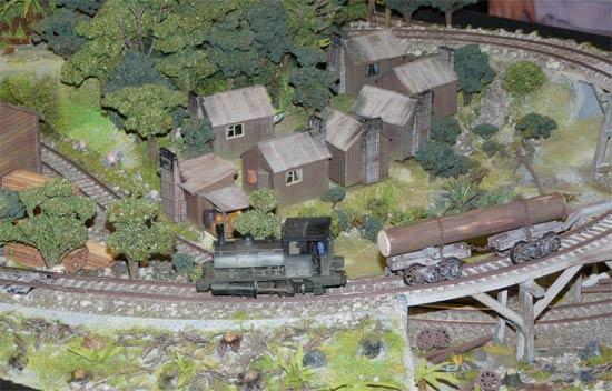 Train towing log around track