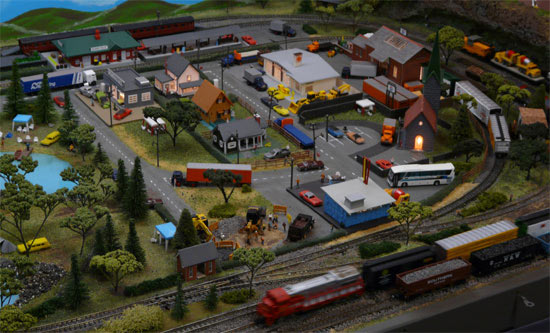 Austinville town with train whizzing past