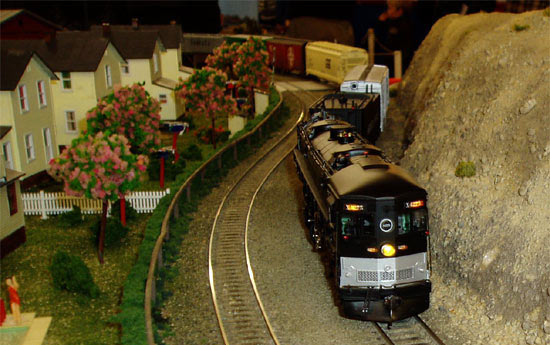 Southern Pacific Train passing cottages beside railway