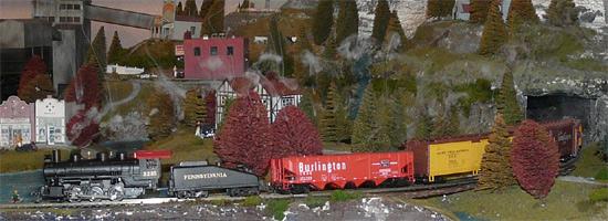 Steam Train blowing smoke - Justin Time layout