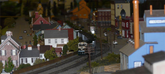 OMES Layout with train heading toward viewer
